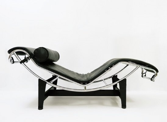 Black Leather LC4 Lounge Chair by Le Corbusier for Cassina