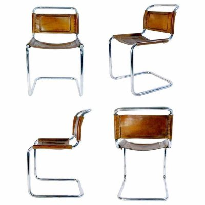 VIntage Bauhaus Style Dining Chairs in Metal & Leather, 1970s