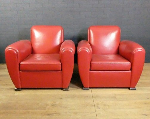 Set of 2 red leather vintage armchairs