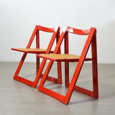 Pair of Red Trieste Chairs by Aldo Jacober