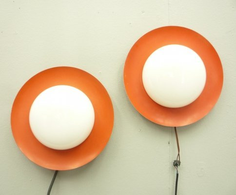 Pair of Wall / Ceiling Lamps from Kaiser, 1950s
