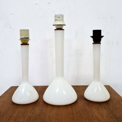 Set of 3 tall glass lamps by Holmegaard, Denmark 1960s