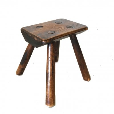 Arts & crafts style solid wood milking stool, 1930s