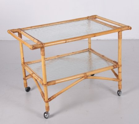 Vintage Bamboo serving trolley, 1960s