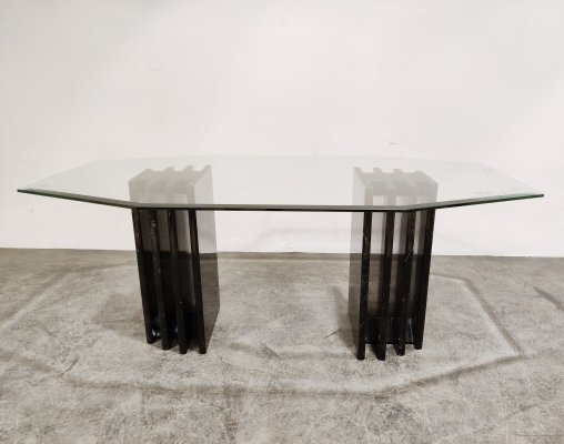 Vintage black marble & glass dining table, 1970s