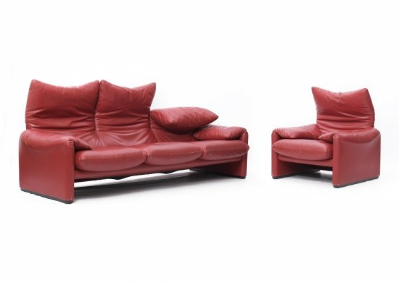 Rare red leather Maralunga seating group by Vico Magistretti for Cassina, 1990s