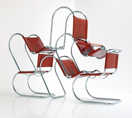 Set of 6 MR10 lounge chairs by Ludwig Mies van der Rohe for Fasem, 1980s