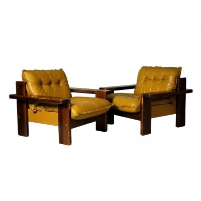 Pair of Leather Club Chairs, Finland 1970s