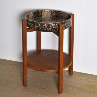 Mid-Century Modern Plant Stand with Ceramic Dish by Scheurich