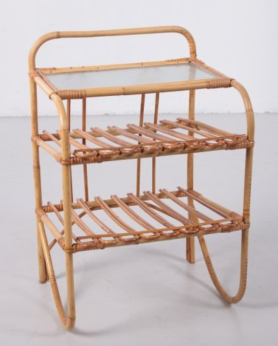 Bamboo side table with storage racks, 1960s
