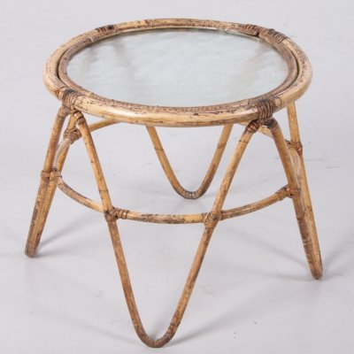 Vintage Bamboo plant table with glass, 1960s