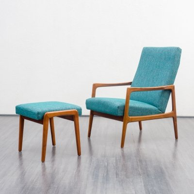 Mid-Century 1960s armchair with foot stool