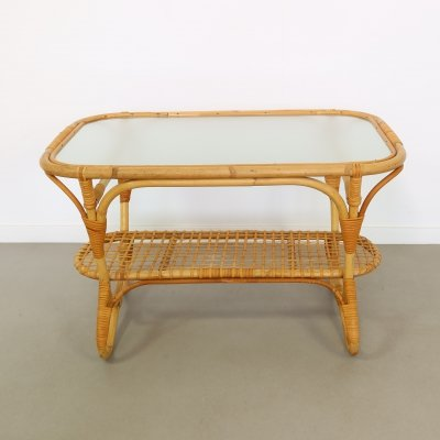 Rattan coffee table by Rohé Noordwolde, 1950s