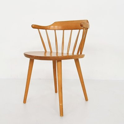 Blond wooden spindle back arm chair by Nesto, Sweden 1950's