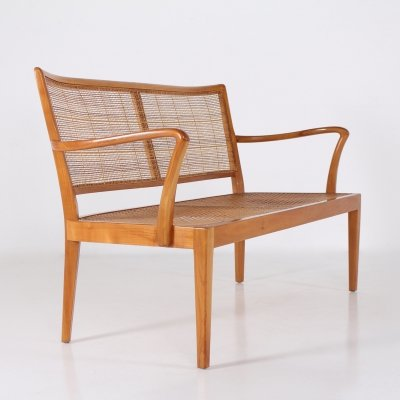 Cherry wood & rattan bench by Rudolf Frank for Erwin Behr, 1950's