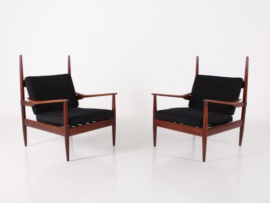 Pair of exotic wood & fabric Scandinavian style armchairs, 1950's
