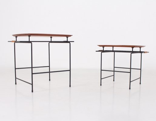 2 minimalist coffee tables in wood, steel & leather by Ary Nybro, 1950's