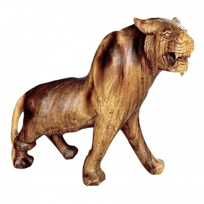 Solid Wood Lioness Statue, 1930s