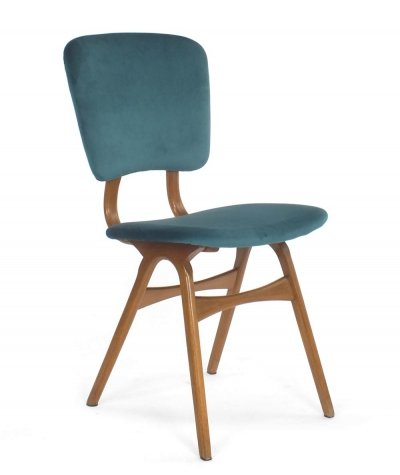 Set of 4 dining chairs with green blue velvet upholstery