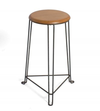 Tomado metal stool / tabouret with wooden seating