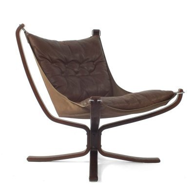 Brown leather Falcon lounge chair by Sigurd Ressell for Vatne Mobler