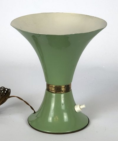 Vintage Italian green lacquer & brass table lamp, 50s