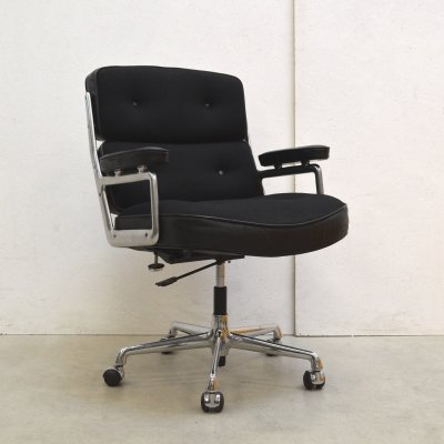 Rare Fabric & Leather ES104 Lobby Office Chair by Charles Eames for Vitra, 1970s