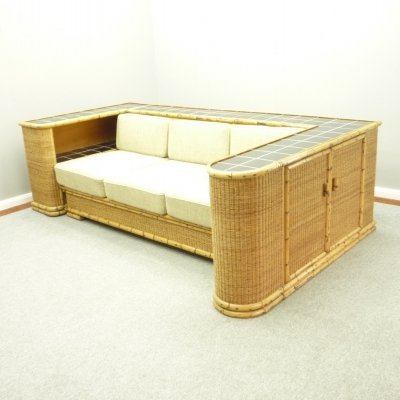German Art Deco Rattan & Bamboo Sofa Daybed from Arco, 1940s