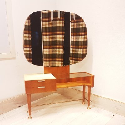 Rare walnut Mid-Century Modern vanity or dressing table by A.A. Patijn, 1950s