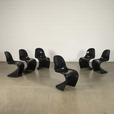 Set of 6 Panton Chairs for Vitra, 1980s
