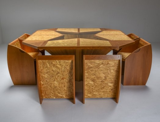Architectural Minimalist Dining Set, Italy 1950's