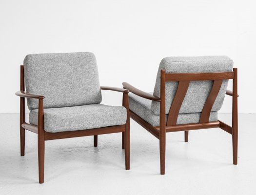 Midcentury Danish pair of easy chairs in teak by Grete Jalk for France & Søn, 1960s