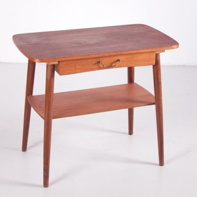 Side table with drawer & teak wood shelf, 1960s