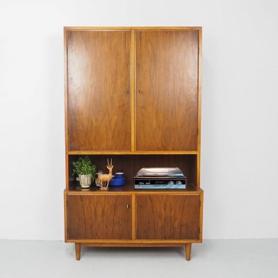 Danish design high cabinet with doors & record cabinet, 1960's