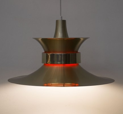 Aluminium gold pendant light by Bent Nordsted from Lyskaer Belysning, 1970s