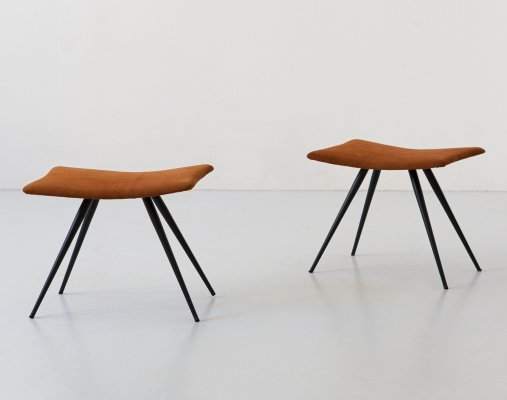 Pair of stools in cognac suede leather & black conical iron legs, Italy 1950