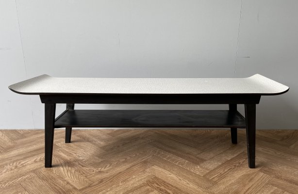 Vintage formica topped curved large coffee table with shelf, 1960s