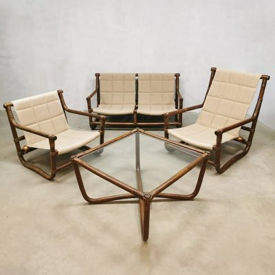 Vintage bamboo rattan lounge set with sofa, chairs & table