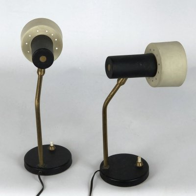 Pair of Mid-century Italian adjustable cone table lamps, 1950s