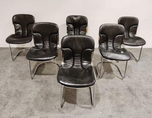 Set of 6 Vintage dining chairs by Willy Rizzo for Cidue, 1970s