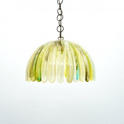 Colorful 70s Pendant in Green & Yellow Acrylic