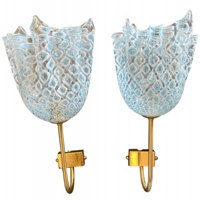1980s set of Two Mid-Century Modern Murano Glass Wall Sconces by La Murrina