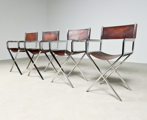 Rare set of 4 chairs by Angelo Metal Arte Rome, 1970s