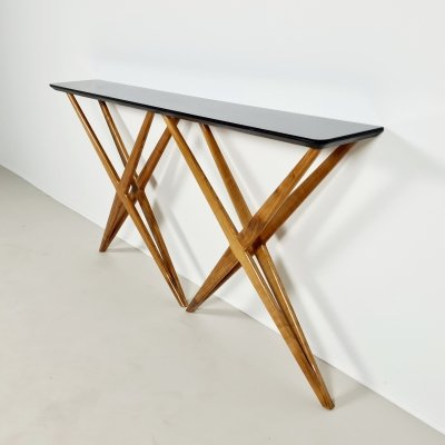 Solid walnut & opal glass top console table, 1970s