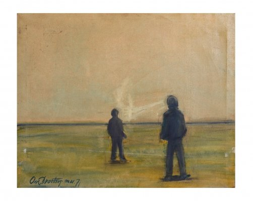 Danish Artist Ove Brostrup 'Two Men at the Sea' Oilpainting, 1971