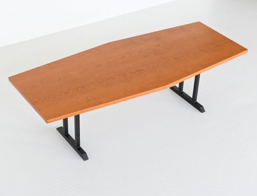 Large oval conference or dining table in oak wood, The Netherlands 1970