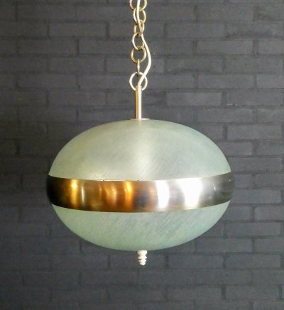 Vintage hanging lamp made of glass & chrome
