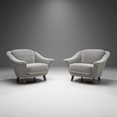 Rare Wilhelm Knoll Lounge Chairs in Bouclé, Germany 1970s