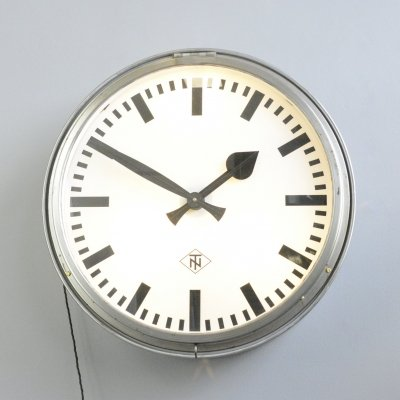 Large Light Up Factory Clock by TN, Circa 1950s