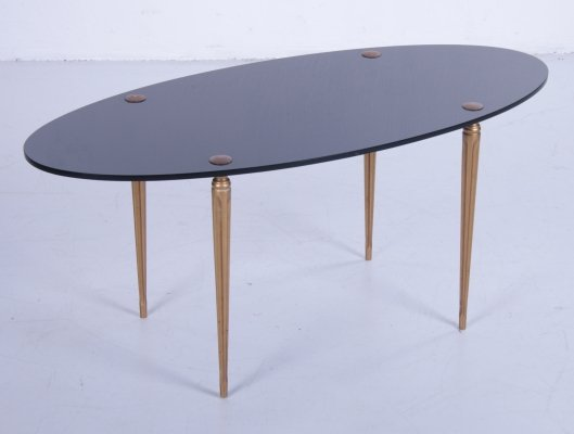 Vintage chic French coffee table with glass top & brass legs